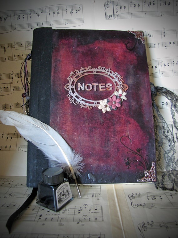 Handmade journal, guest book,  album, book, sketchbook, diary, notebook in a vintage, romantic,  victorian theme