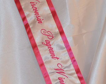 Customized Embroidered Satin Pageant Sash