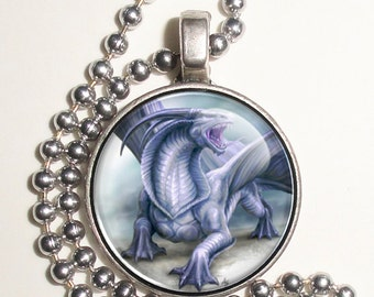 Violet Dragon Altered Art Photo Pendant, Earrings and/or Keychain Round, Silver and Resin Charm Jewelry