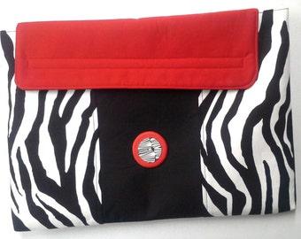 Black White Red Zebra Stripe Padded Laptop Sleeve