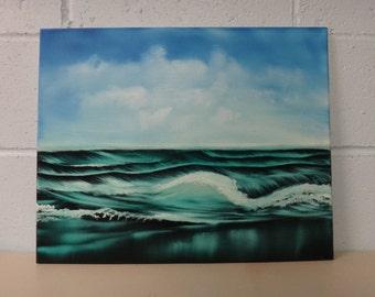 "16 X 20 ""Deep Green Sea"" seascape oils on partial black canvas painting."