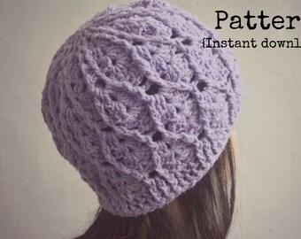 Crochet women hat pattern, crochet pattern, crochet hat pattern, crochet beanie, cables and shells hat, pattern No. 69