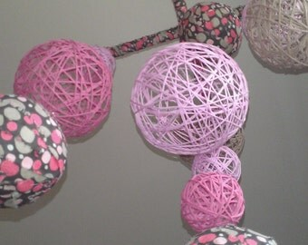 Pink and Taupe Yarn & Fabric Ball Baby Mobile