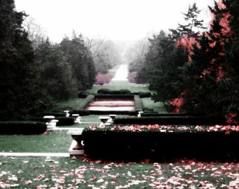 McCormick Mansion's Formal Garden in Autumn - Cantigny, Wheaton, Illinois - Nature Landscape Travel Photography Print 5x7 Fall Home Decor