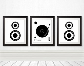 Vinyl Record Speaker Set, Vinyl Print, Wall Art, Home Decor, Music Print, Speaker Print, Minimalist, Records, Music Art, Custom Colors