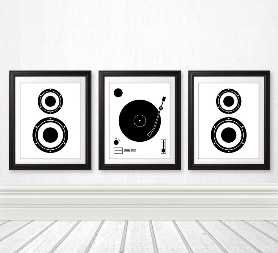 Vinyl record speaker set vinyl print wall art home decor for Vinyl record wall art