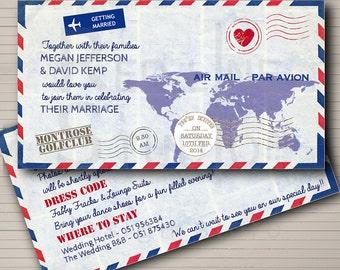 Wedding invitation Airmail Theme - Destination Wedding - printable