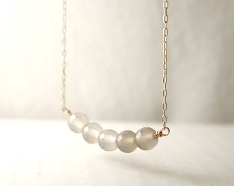 Faceted bead bar necklace - grey agate gemstone - gold filled - delicate dainty