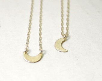 Crescent moon necklace - sideways and drop crescent - gold filled - dainty modern illusy