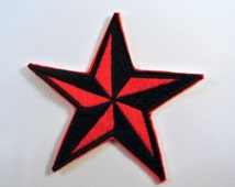 Star Patch Red and Black Great for Jackets Jeans Purses or anywhere you want to embellish