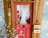 Fairy Door - Peony Pink w/Wood Stained Trim - Foyer w/Teal Velvet Sofa