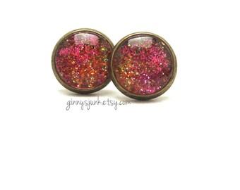 Raspberry Sherbet Post Earrings - Glitter Earrings - 12mm Round - Bronze Setting - Lead and Nickel Free Settings
