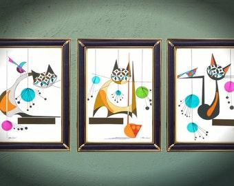 SET of THREE, Mid century modern cat prints, Giclee, Spells Cat, Three  Mod Cats,  Atomic, eames, retro