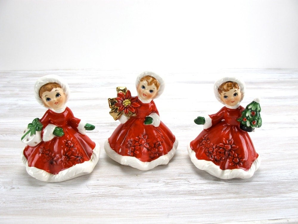Vintage lefton christmas figurines poinsettia girls