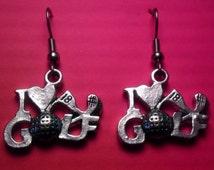 Golf Earrings, I Love Golf Earrings. silvertone Golf earrings, Golf Gift