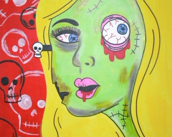 Original Zombie Girl with Skulls 9x12, Acrylic and Sharpie Painting on Drawing Paper, Skull Painting, Horror Art, Alternative Gift Idea