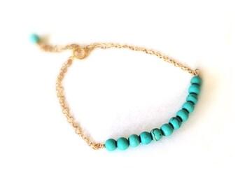 Turquoise Gold Bracelet, Teal Turquoise Bracelet