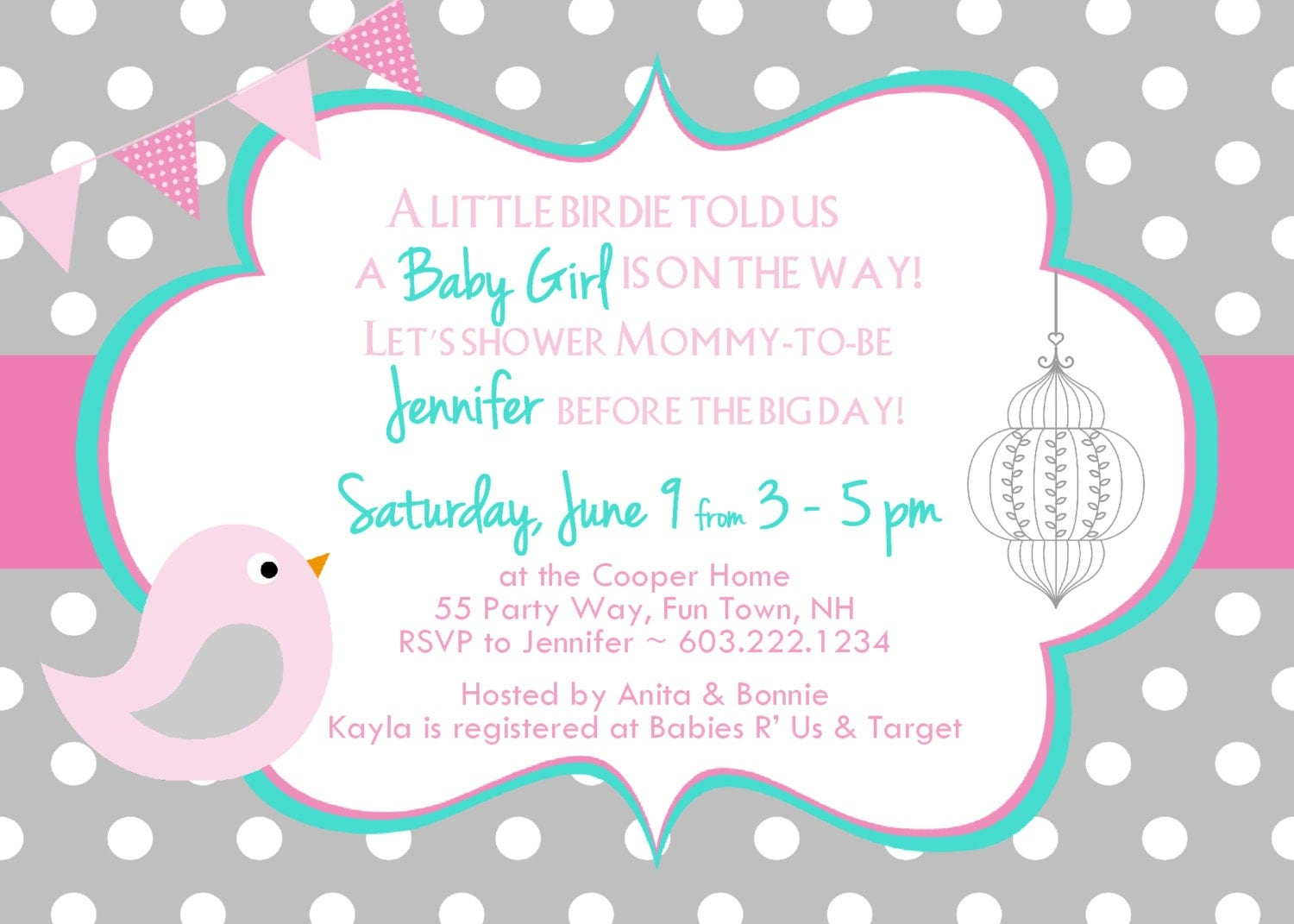 bird baby shower invitation girl birdie by asyouwishcreationsu, Baby shower invitations