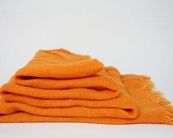 Big Lightweight Pure Linen Scarf SHIPPING WORLDWIDE 100%Valentine day  gift Woman Scarf  Unisex Scarf Orange Bright Summer Scarf