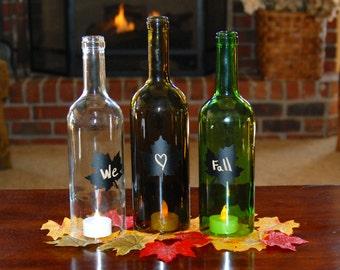 Set of 3 Wine Bottle Hurricanes with Leaf Chalkboard Labels