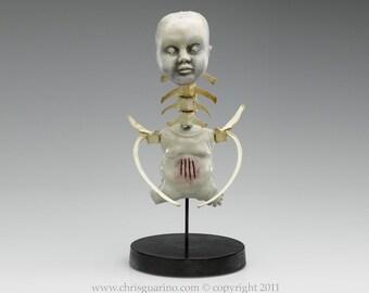 Unique sculpture, one of a kind, baby doll art, bone art, creepy artwork, dark art, oddities, spine, medical oddity, Little Imperfection 4