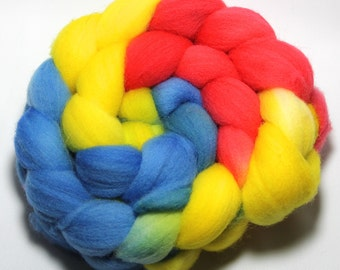 Hand painted Roving - School Days - Falkland Wool, 4 ounces.