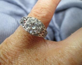 Vintage Antique Style Filigree Engagement Ring