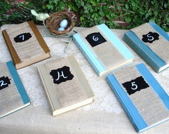 Wedding Decoration, Vintage Book and Burlap Table Numbers Set of 6
