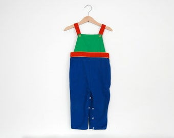Vintage Overalls Dungarees Romper in Primary Colors 1970s 2T