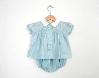 Vintage Baby Dress in Sky Blue with Smocking and Bloomers 18 Months