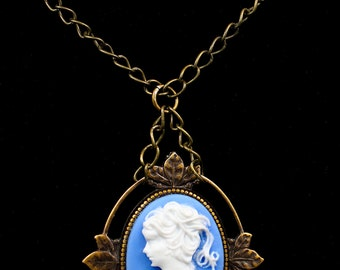 One-of-a-kind antiqued blue cameo pendant.