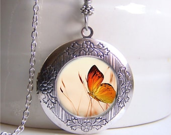 Photo Locket, Butterfly Necklace, Locket Necklace, Butterfly Jewelry, Nature Necklace