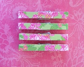 Lilly Pulitzer Cabanarama Print, Clothespin Magnets Pink, Green, and White Set of four