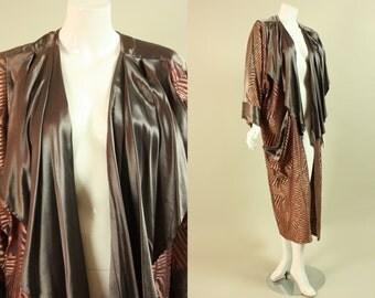 1980's ABA DESIGNER JACKET Long Lightweight Coat Vintage Pink Tan Animal Geometric Print Batwing Sleeves France French