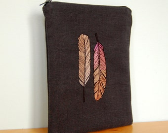 2 Ombre Feathers  - Embroidered Kobo & Kindle E-reader Case with Zipper  - also for iPad mini and Nexus 7