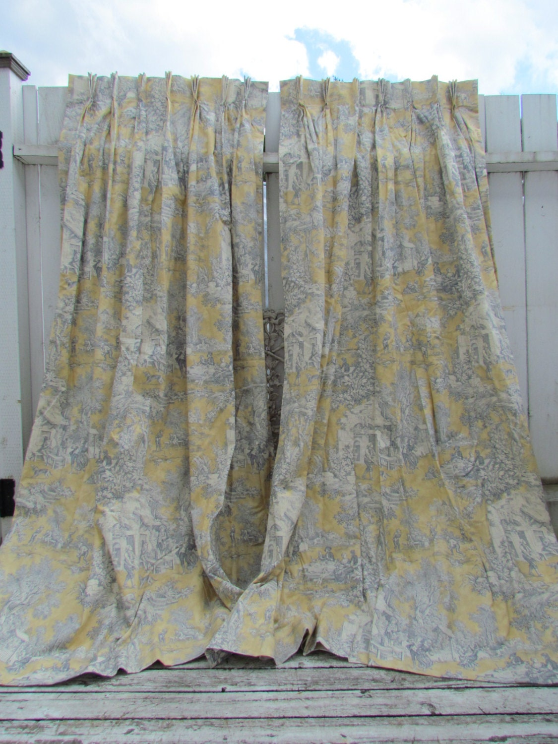 Golden Yellow And Blue Toile Curtains Drapes Chateau Style