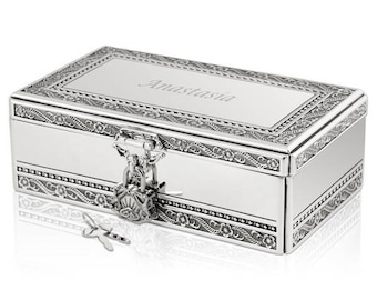 Engraved Personalized Silver Jewelry Box with Lock and Key