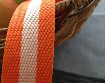 Webbing bag handle: Orange/ white (3 yards)