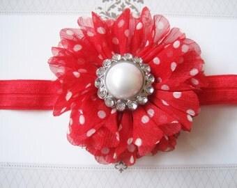 Red Polka Dot Headband, Baby Headbands, Newborn Headbands, Infant Headbands, Baby Girl Bow, Infant Hair Bow,