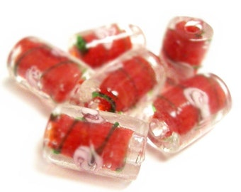 6pc red tube style 15x10mm lampwork glass beads-7676