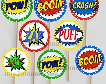 Super hero comic book cupcake toppers Printable DIYSet of 20 Instant Download