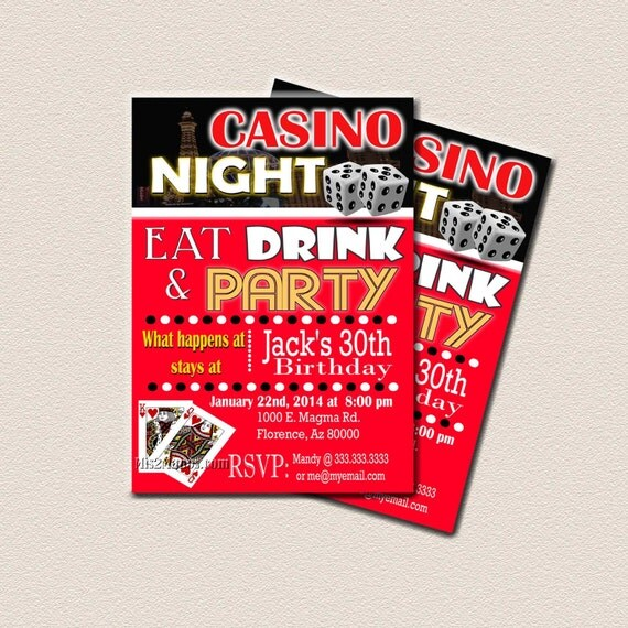 Casino Theme Party Surprise Birthday Party Printable 30th