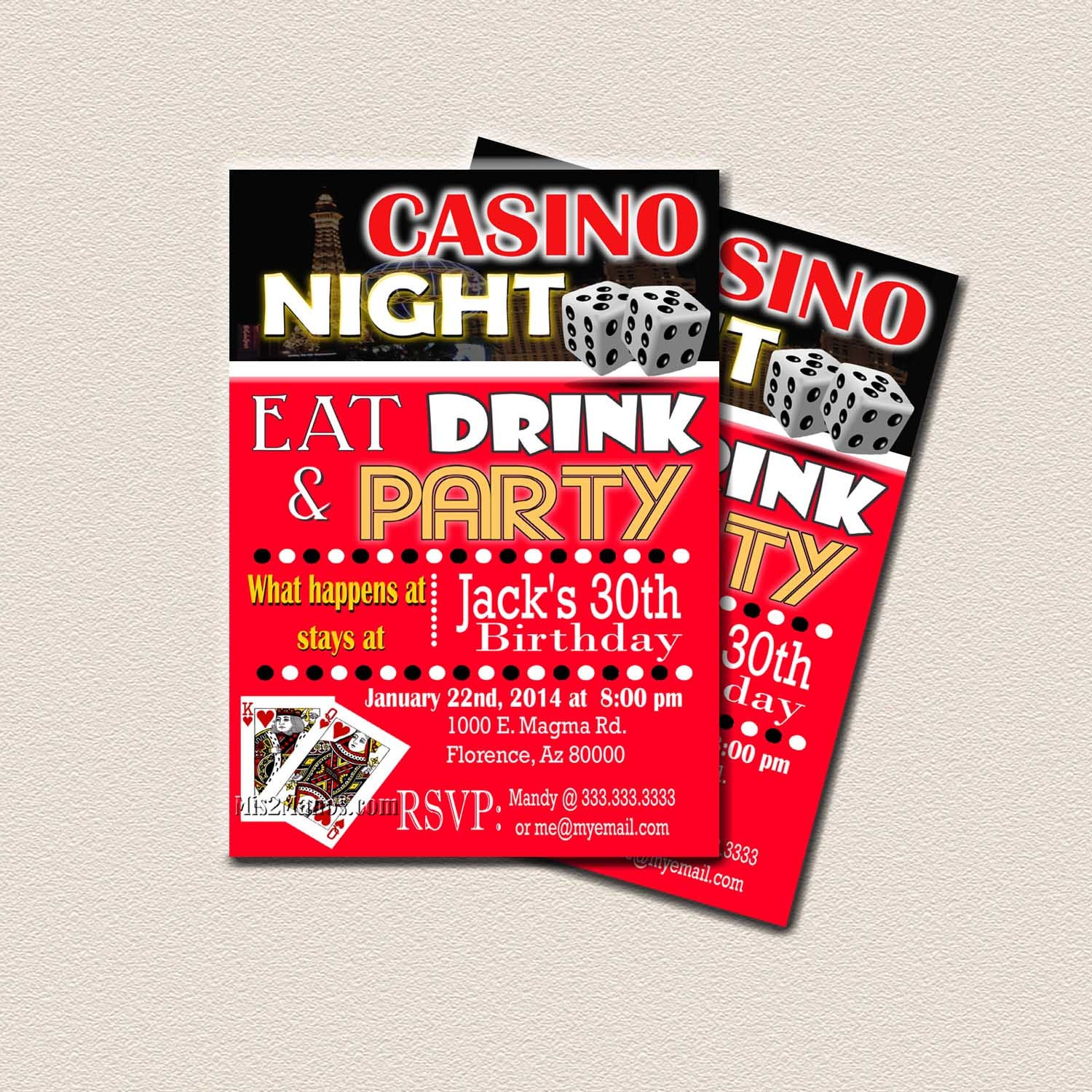 casino theme party surprise birthday party printable 30th, Party invitations