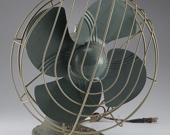 Vintage Metal Fan by Dominion in Gray Green Industrial Look