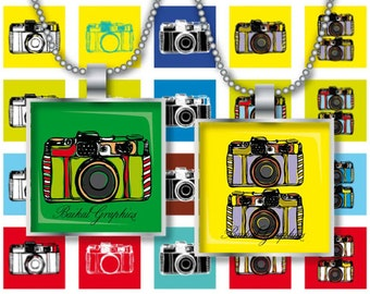 Vintage Photo Cameras Colored square 1inch Instant download Digital Collage Sheet Printable images for pendant cabochon 245