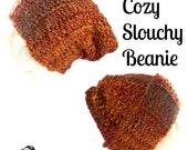 Burnt Orange and Brown Crochet Long Stocking Hat // unisex, autumn