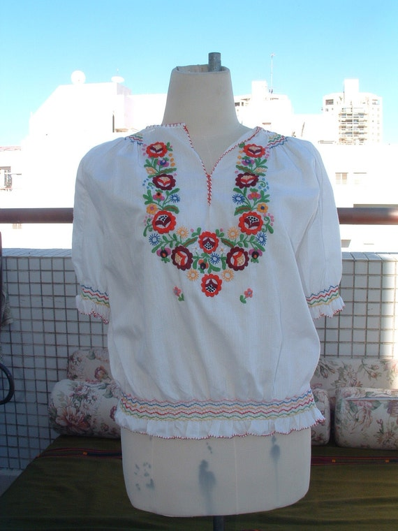 Hungarian cotton embroidery hand made circa 1950 never ware made in HUNGARY