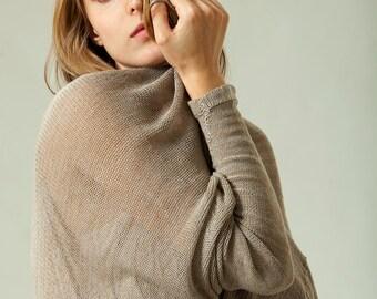 Taoupe Gray knitted cardigan gray jacket, Melange pattern sweater,Handmade of organic Bamboo