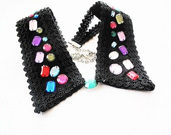 Black Peter Pan Collar, Collar Necklace, Fashion Collars, Colorful Beads, Embroidered Collar Necklace-Col Claudine