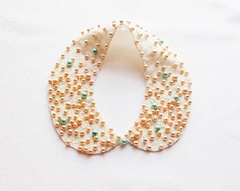 Pearl Collar Necklace, Peach, Pink, Mint green ,  Pearl, Peter Pan Collar, Handmade Jewelry  (1940s-1950s)Vintage Style, Col